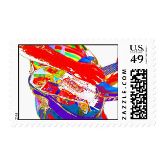 colorful psychadelic guitar player stamps