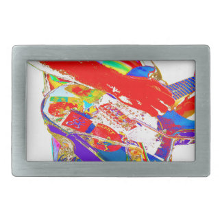 colorful psychadelic guitar player rectangular belt buckle