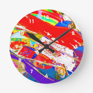 colorful psychadelic guitar player round clock