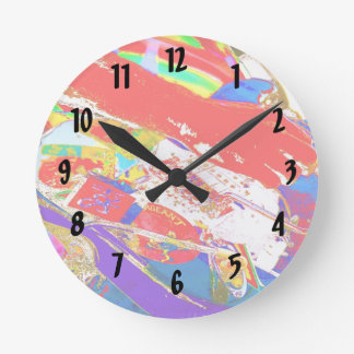 colorful psychadelic guitar player round clocks