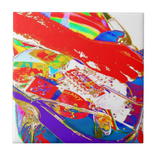 colorful psychadelic guitar player small square tile