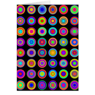 Colorful psychedelic circles on black background card
