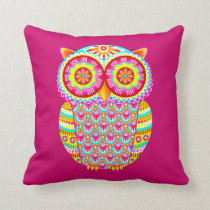 Colorful Psychedelic Cute Owl Pillow