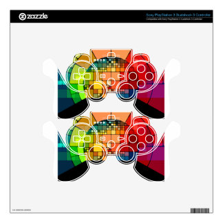 Colorful psychedelic decal for PS3 controller