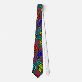Colorful Psychedelic Floral Paisley Retro Pattern Tie