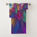 Colorful Psychedelic Flower Abstract Fractal Art Bath Towel Set