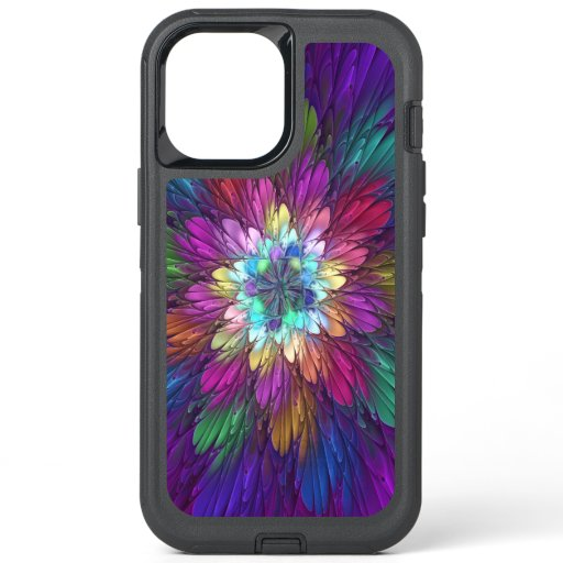 Colorful Psychedelic Flower Abstract Fractal Art OtterBox Defender iPhone 12 Pro Max Case