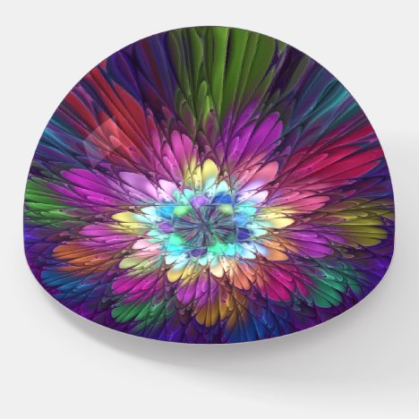 Colorful Psychedelic Flower Abstract Fractal Art Paperweight