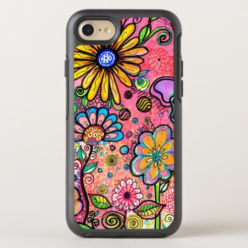 Colorful Psychedelic Flower Drawing OtterBox Symmetry iPhone SE87 Case