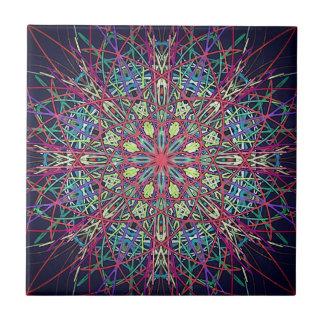 Colorful Psychedelic Fractal Ceramic Tile