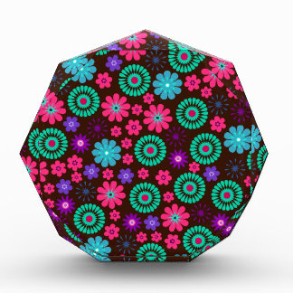 Colorful Psychedelic Funky Flower Pattern Acrylic Award