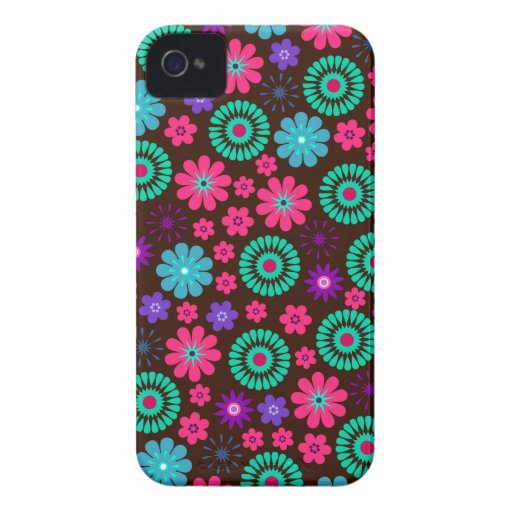Colorful Psychedelic Funky Flower Pattern iPhone 4 Case-Mate Case