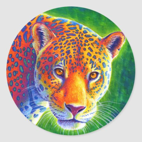 Colorful Psychedelic Jaguar Wild Feline Stickers