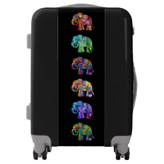 Colorful psychedelic ornamental elephants luggage