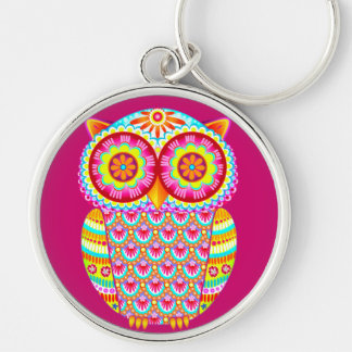 Colorful Psychedelic Owl Keychain