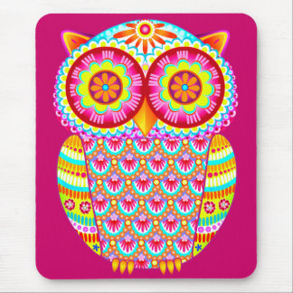 Colorful Psychedelic Owl Mousepad