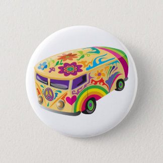 Colorful Psychedelic Painted Bus Button