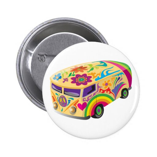 Colorful Psychedelic Painted Bus 2 Inch Round Button