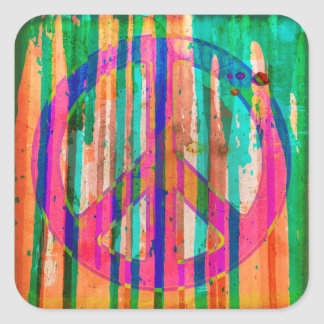Colorful Psychedelic Peace Sign Square Sticker