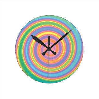 Colorful psychedelic pinwheel swirl design wall clocks