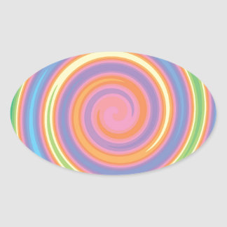Colorful psychedelic pinwheel swirl design oval stickers
