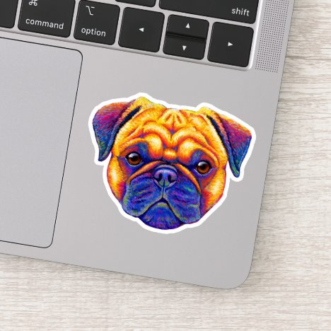 Colorful Psychedelic Pug Vinyl Sticker