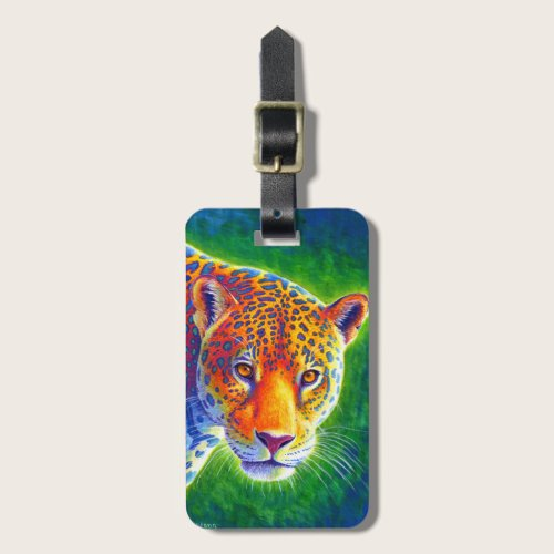 Colorful Psychedelic Rainbow Jaguar Luggage Tag