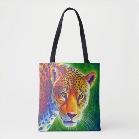 Colorful Psychedelic Rainbow Jaguar Tote Bag