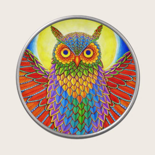 Colorful Psychedelic Rainbow Owl Candy Tin