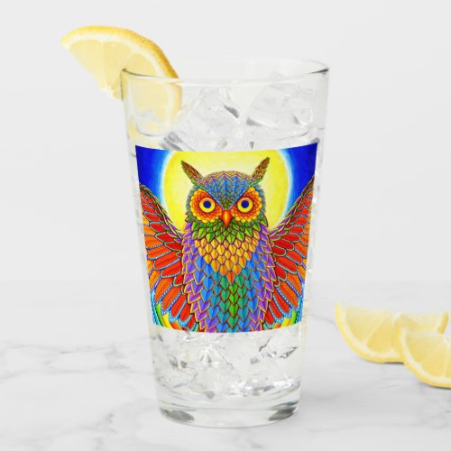 Colorful Psychedelic Rainbow Owl Glass Cup