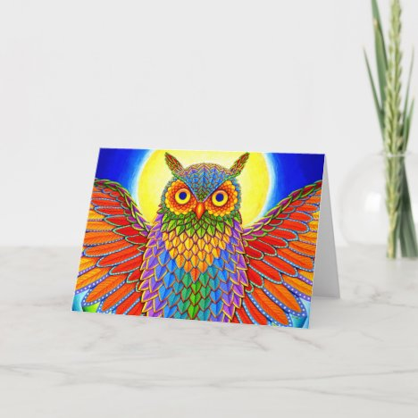 Colorful Psychedelic Rainbow Owl Greeting Card