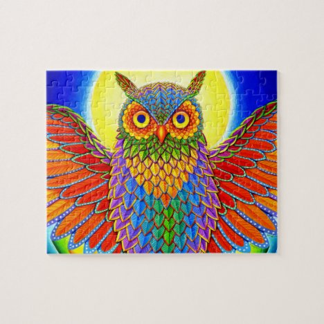 Colorful Psychedelic Rainbow Owl Jigsaw Puzzle