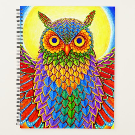 Colorful Psychedelic Rainbow Owl Planner