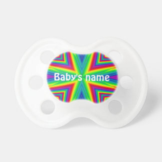 Colorful psychedelic rainbow personalized for baby BooginHead pacifier