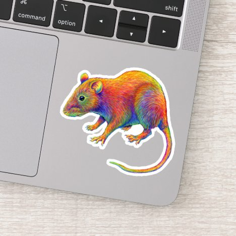 Colorful Psychedelic Rainbow Rat Vinyl Sticker