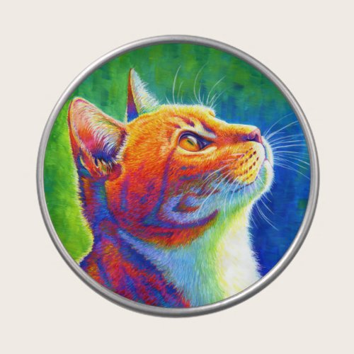 Colorful Psychedelic Rainbow Tabby Cat Candy Tin