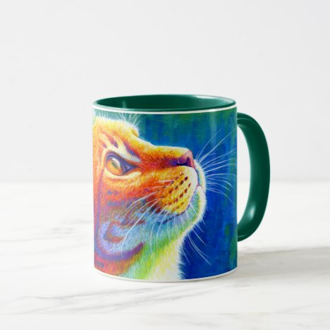 Colorful Psychedelic Rainbow Tabby Cat Mug