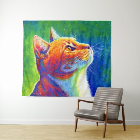 Colorful Psychedelic Rainbow Tabby Cat Tapestry