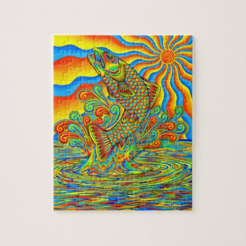Colorful Psychedelic Rainbow Trout Fish Puzzle