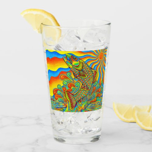 Colorful Psychedelic Rainbow Trout Glass Cup