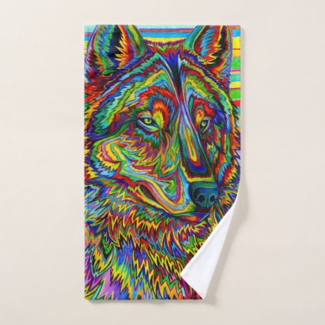Colorful Psychedelic Rainbow Wolf Bath Towel Set