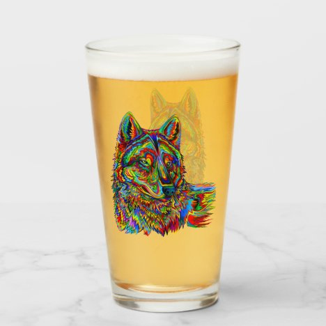 Colorful Psychedelic Rainbow Wolf Glass Cup