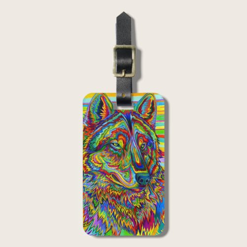 Colorful Psychedelic Rainbow Wolf Luggage Tag