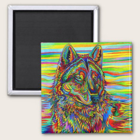 Colorful Psychedelic Rainbow Wolf magnet