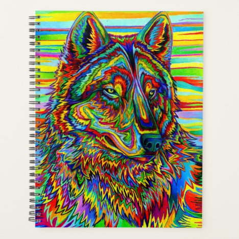 Colorful Psychedelic Rainbow Wolf Planner