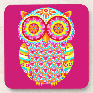Colorful Psychedelic Retro Owl Coasters - Set of 6