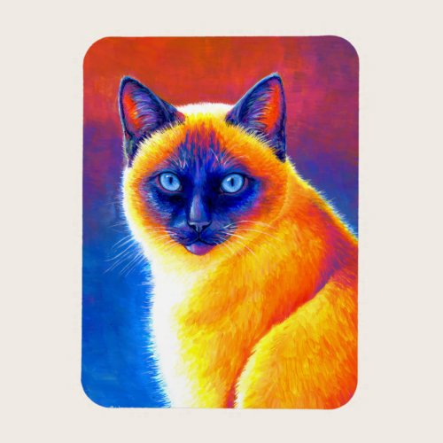 Colorful Psychedelic Siamese Cat Flexible Magnet