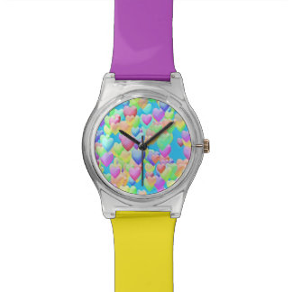 Colorful Puffy Hearts on Blue Designer Watch