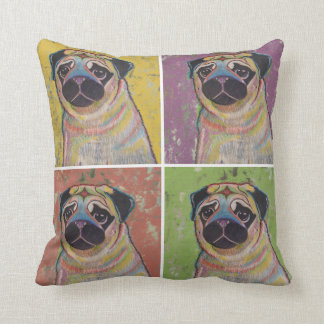 Colorful Pug Collage Pillow