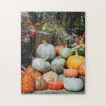 "Colorful pumpkin decorative display puzzle<br><div class=""desc"">Colorful autumn harvest and pumpking display print puzzle</div>"